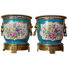 "Sevres Style Bronze-Mounted Porcelain ""Cache-Pots"""