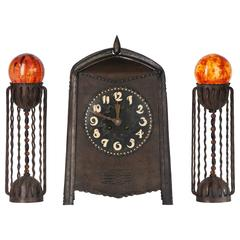 Winkelman & Van der Bijl, Amsterdam School Clock Set, circa 1920