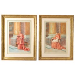 Antique  Pair of Watercolours 'Cardinals' E Tarenghi  Early 20th Century