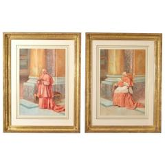 Early 20th Century Pair of Watercolours 'Cardinals' E Tarenghi