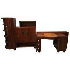 French Art Deco Rosewood Desk and Bookcase by Dominique