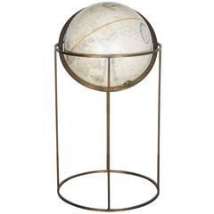 1960s Brass Floor Terrestrial Globe