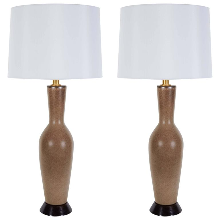 Italian Tan/Brown Speckled Glazed Lamps For Sale