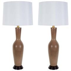 Italian Tan/Brown Speckled Glazed Lamps