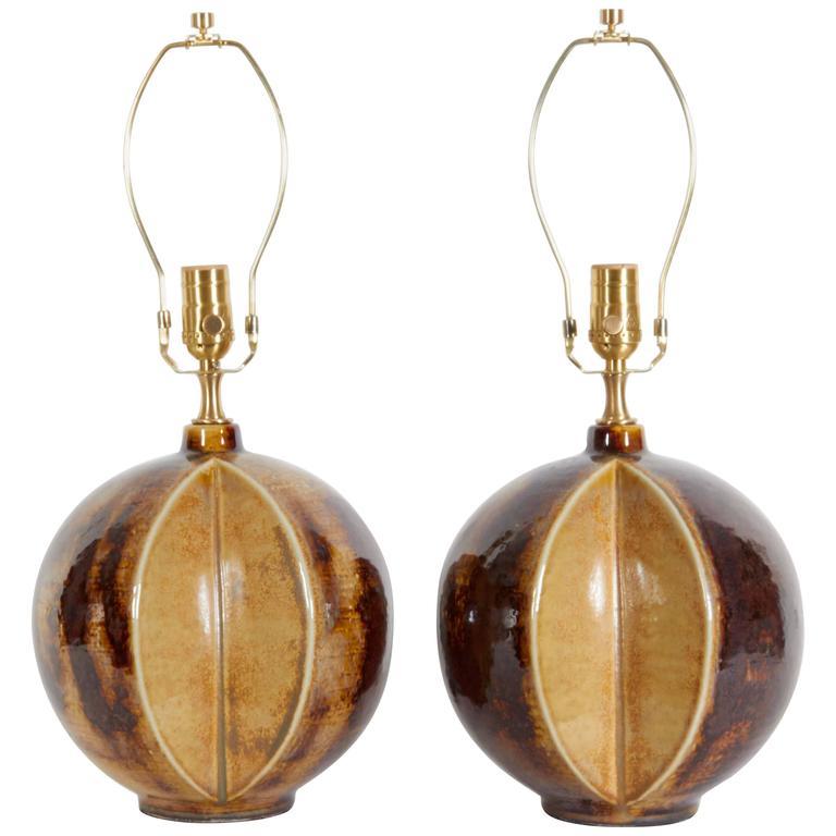 Soholm Stentoj Danish Modern Brown/Tan Ceramic Lamps