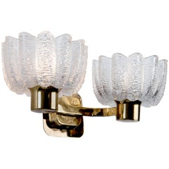 Brass and Glass Two Arm Sconces, Circa 1960