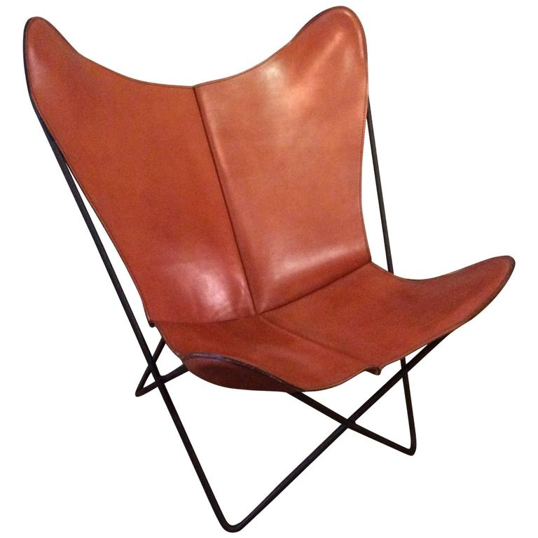 Leather Butterfly Chair by Jorge Ferrari Hardoy for Knoll at 1stdibs