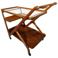 Exquisite Cesare Lacca for Cassina Teak 1960s Retro Drinks Stand or Trolley