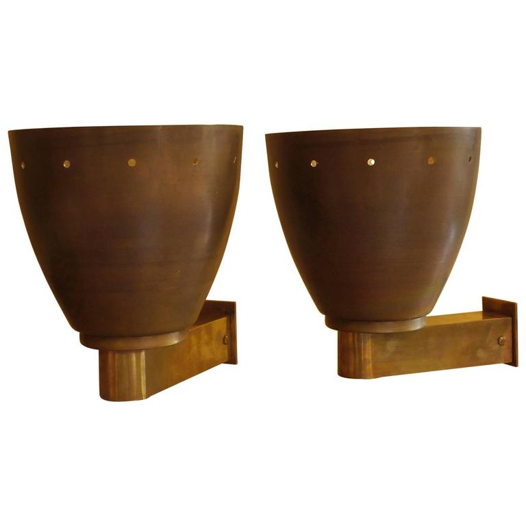 1960s Brass Sconces Gilded Inside