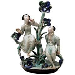 Adam and Eve Ceramics Wiener Werkstätte Vienna Austria by Lotte Calm, circa 1925