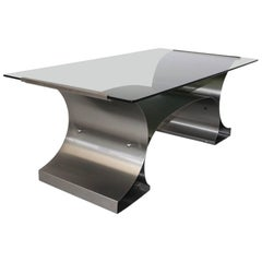 Mid Century Modern Vintage Steel Coffee Table by Francois Monnet, circa 1970