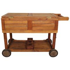 Mid-Century Modern Drop-Leaf Rolling Cart