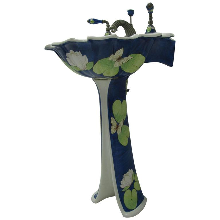 Sherle Wagner Hand Painted Pedestal Sink With Faucet Set And Accessories 1
