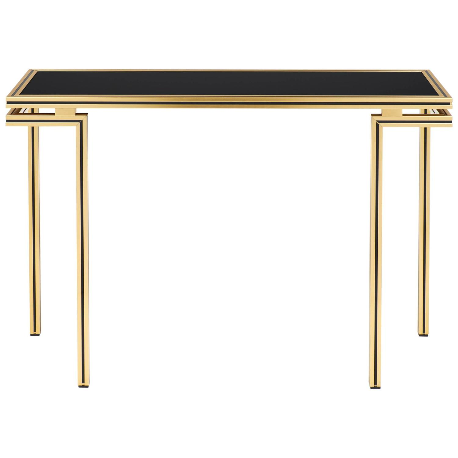 Vintage black glass top brass console table by pierre vandel at 1stdibs