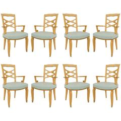 Set of Eight French Art Moderne Maple Chairs by Jules Leleu