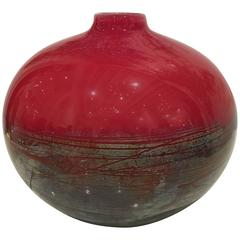Handblown Red Celadon Glass Vase by Chris Ross