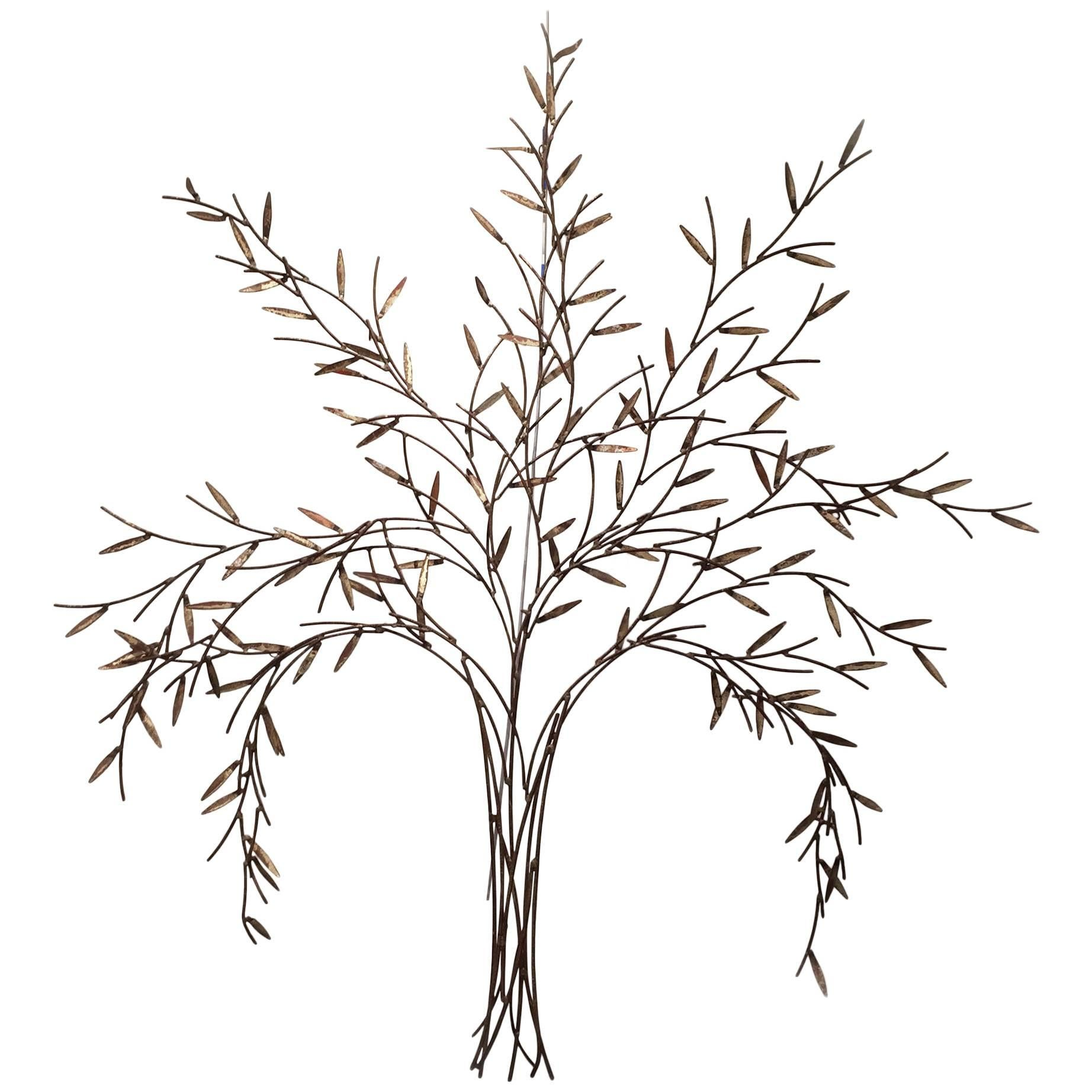 Gilt Metal Wall Sculpture of a Willow Tree by William Bowie