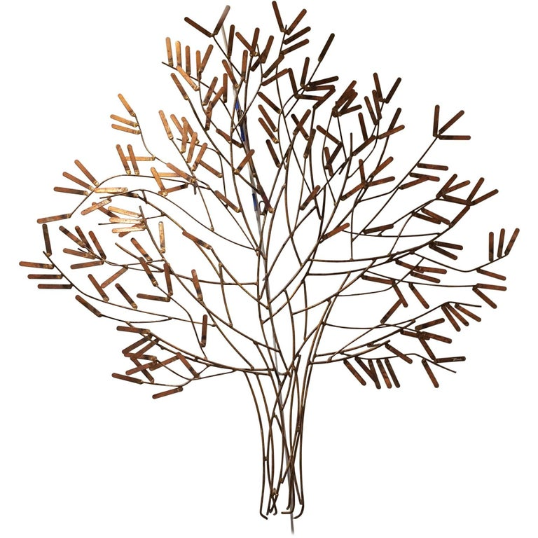 Gilt Metal Wall Sculpture of a Stick Tree by William Bowie For Sale