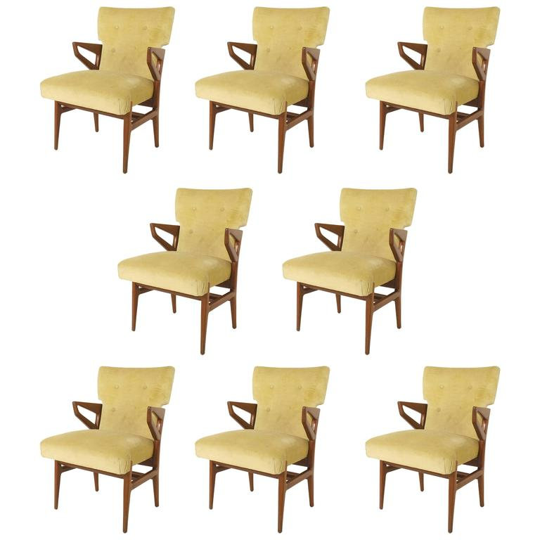 Set of Eight Italian 1940s Mahogany Dining Chairs For Sale