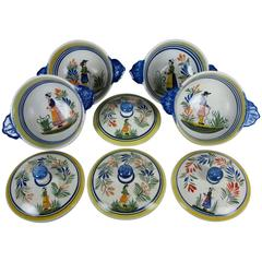 French Faïence Henriot Quimper Two-Handled Onion Soup Lug Bowls & Lids, S/4