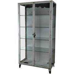 1940 Cast/Steel Glass Medical Cabinet
