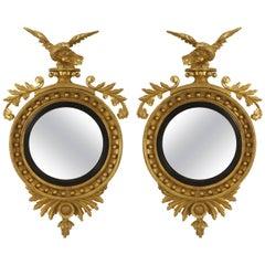 Pair of  19th Century English Georgian Convex Mirrors