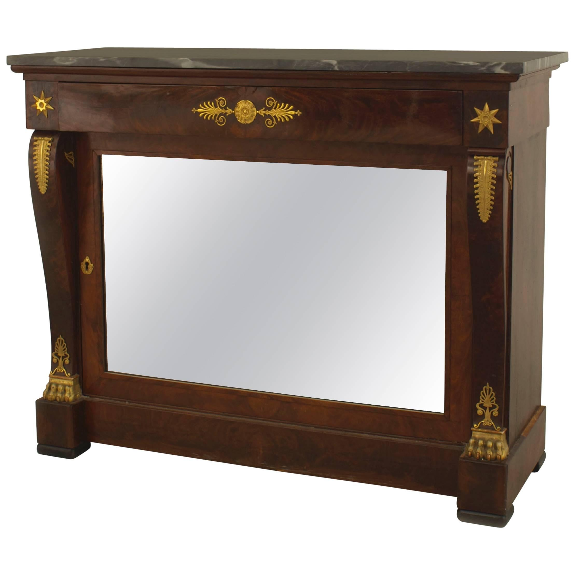 French Empire Mahogany and Mirrored Console Table
