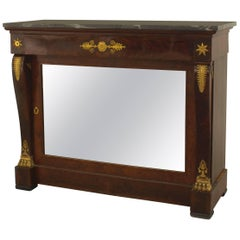 Mahogany and Bronze Trimmed Console Table