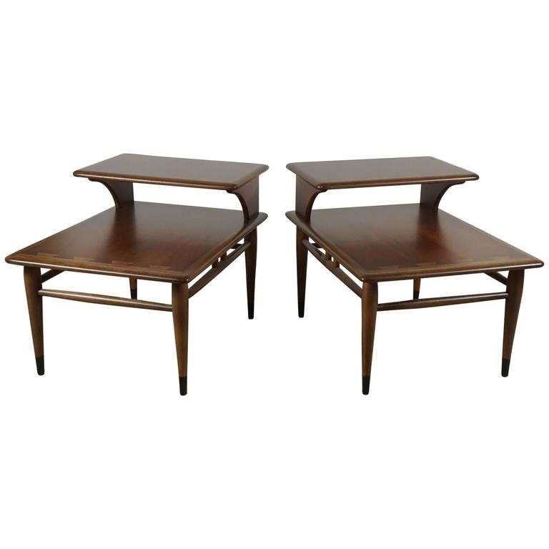Pair of Lane Two-Tiered End Tables in Walnut