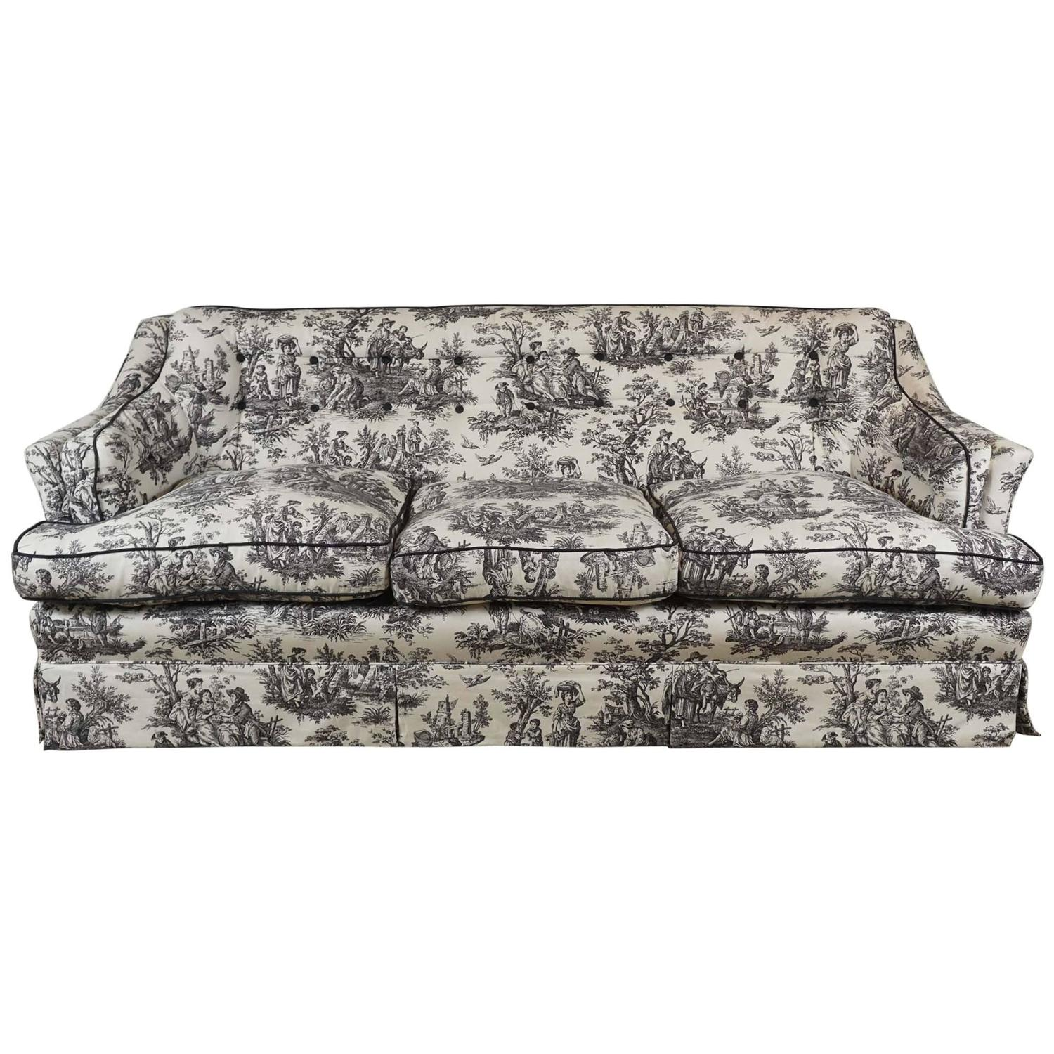Black and White Toile Sofa at 1stdibs