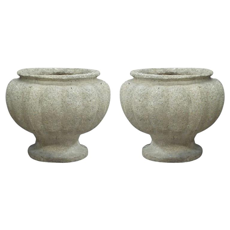 Pair of French Mid-Century Modern Stone Table Lamps in the Form of Urns