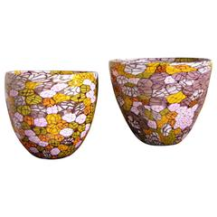 Fratelli Pagnin 1970s Vintage Pair of Yellow Orange Purple Murano Glass Bowls