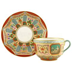 Extremely Rare Russian Imperial Porcelain Raphael Service Cup and Saucer
