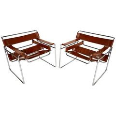 Vintage Pair of Leather and Chrome Wassily Chairs