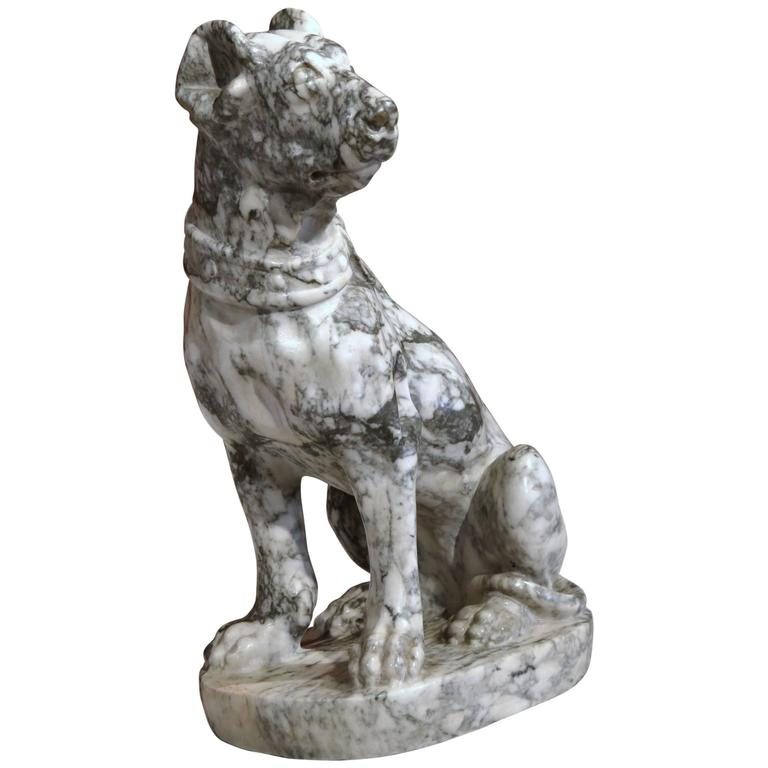 19th Century French Gray and White Carved Marble Dog Sculpture For Sale