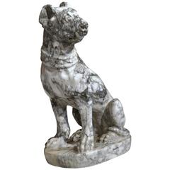 19th Century French Gray and White Carved Marble Dog Sculpture