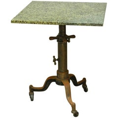 Industrial Adjustable Lift Table with Marble Top