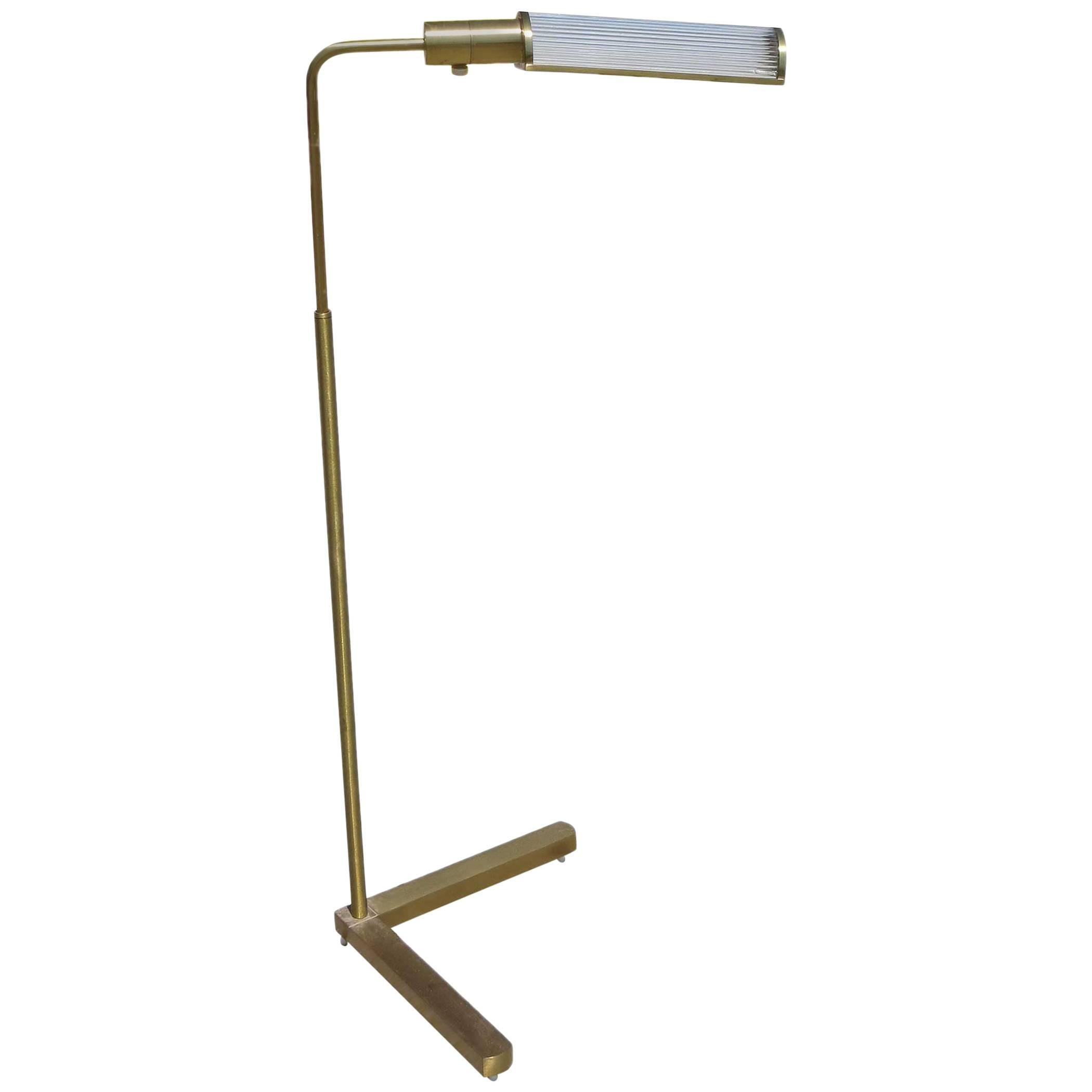 Brass Pharmacy Floor Lamp with Glass Rod Shade by Casella