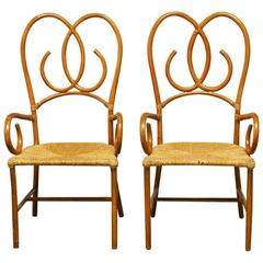 Pair of French Art Deco Style Rattan Armchairs