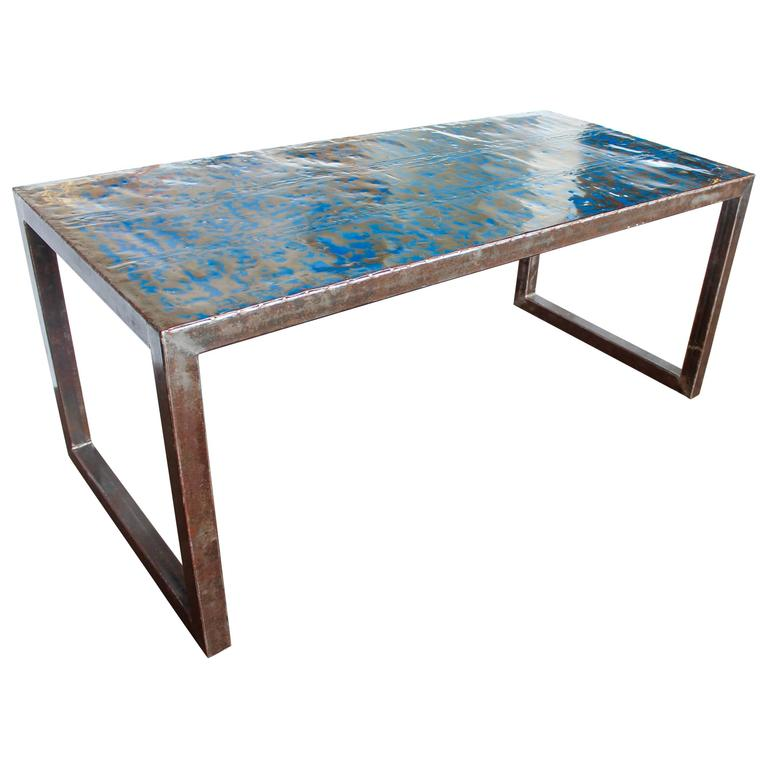Modern Blue Metal Writing Desk