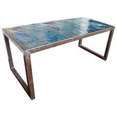 Modern Blue Metal Writing Desk