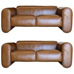 Pair of Leather Sofas by Stendig