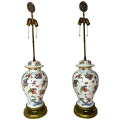 Pair of Asian Inspired German Porcelain Ginger Jar Lamps