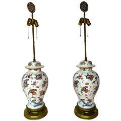 Pair of Asian Inspired German Porcelain Ginger Jar Lamps