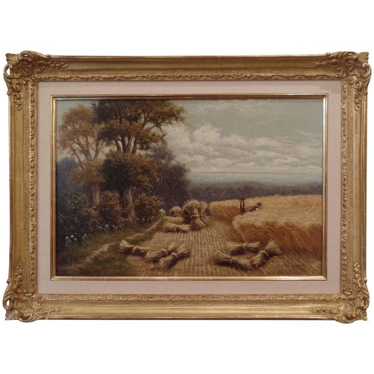 "H. Livens Oil Painting ""Harvesting on a Summer's Day"" For Sale"