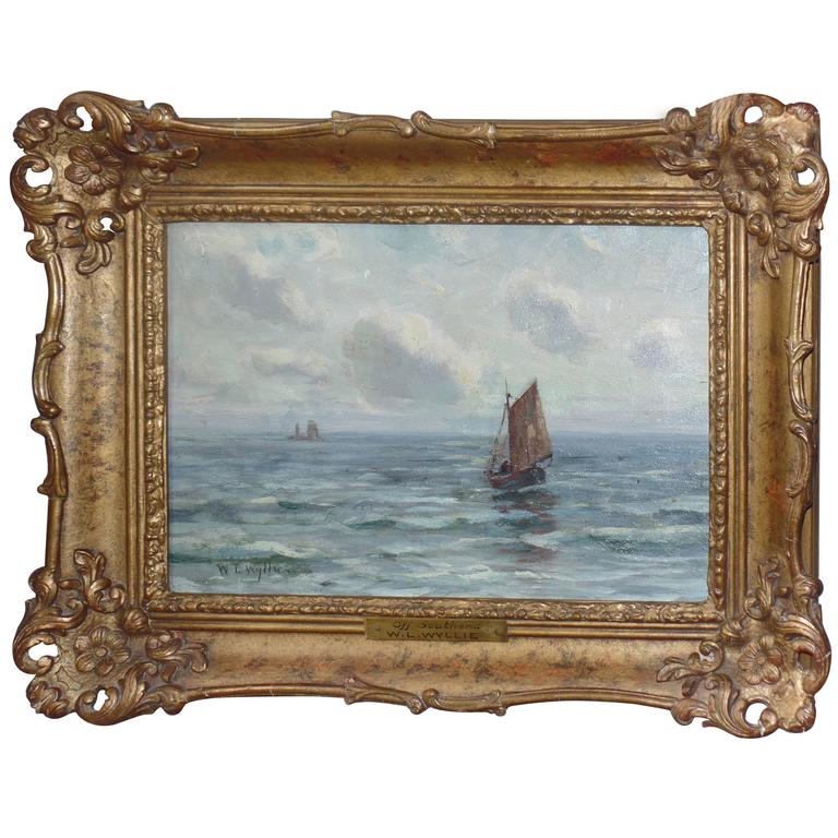 """W. Wyllie Oil Painting on Canvas """"off Southend"""", Signed For Sale"""