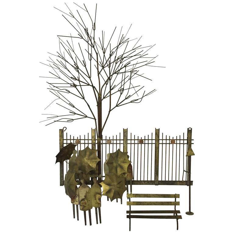 Curtis Jere Rainy Day Park Bench Metal Wall Sculpture Artisan House For Sale