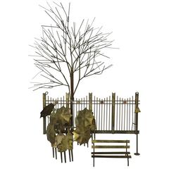 Curtis Jere Rainy Day Park Bench Metal Wall Sculpture Artisan House