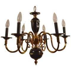 Six-Light Candle Style Black and Brass Chandelier