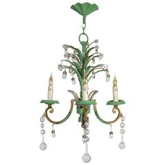 Three-Arm Chandelier in Tole with Crystals in Glass in Green and Gold
